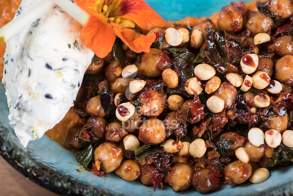 Chickpea salad with rose harissa, smoked hummus, sesame labneh and date syrup at Flavour Bastard in Soho as part of restaurant review.<br /> Picture by Daniel Hambury/Stella Pictures Ltd 07813022858<br /> 04/09/2017