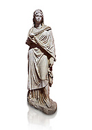Roman statue of Sabina .Marble. Perge. 2nd century AD. Inv no 3066-3086. Antalya Archaeology Museum; Turkey. Against a white background. .<br /> <br /> If you prefer to buy from our ALAMY STOCK LIBRARY page at https://www.alamy.com/portfolio/paul-williams-funkystock/greco-roman-sculptures.html . Type -    Antalya     - into LOWER SEARCH WITHIN GALLERY box - Refine search by adding a subject, place, background colour, museum etc.<br /> <br /> Visit our ROMAN WORLD PHOTO COLLECTIONS for more photos to download or buy as wall art prints https://funkystock.photoshelter.com/gallery-collection/The-Romans-Art-Artefacts-Antiquities-Historic-Sites-Pictures-Images/C0000r2uLJJo9_s0