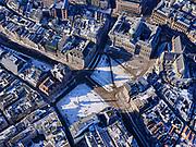 Nederland, Noord-Holland, Amsterdam, 13-02-2021; Dam en Damplein in de winterse sneeuw. Koninklijk Paleis en Nationaal Monument.<br /> Dam and Damplein in the winter snow. Royal Palace and National Monument.<br /> luchtfoto (toeslag op standaard tarieven);<br /> aerial photo (additional fee required)<br /> copyright © 2021 foto/photo Siebe Swart