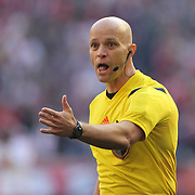 Referee Allen Chapman in action during the New York Red Bulls Vs New England Revolution, MLS Eastern Conference Final, first leg at Red Bull Arena, Harrison, New Jersey. USA. 23rd November 2014. Photo Tim Clayton