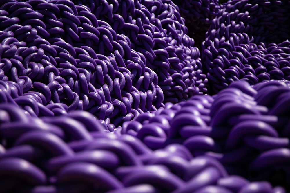 Purple rope formed into a stunning creation.
