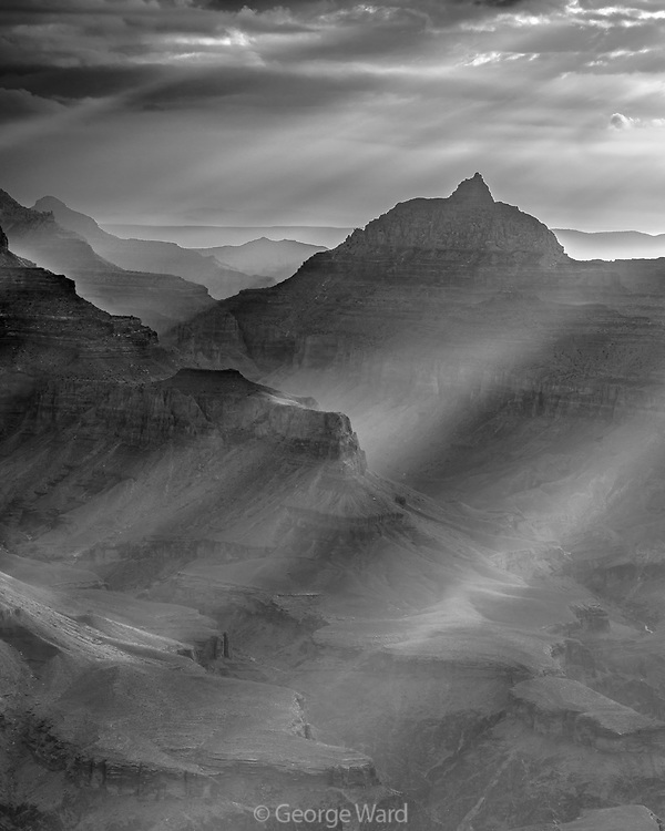 Sunrays and Vishnu's Temple from South Rim at Dawn, Grand Canyon National Park, Arizona
