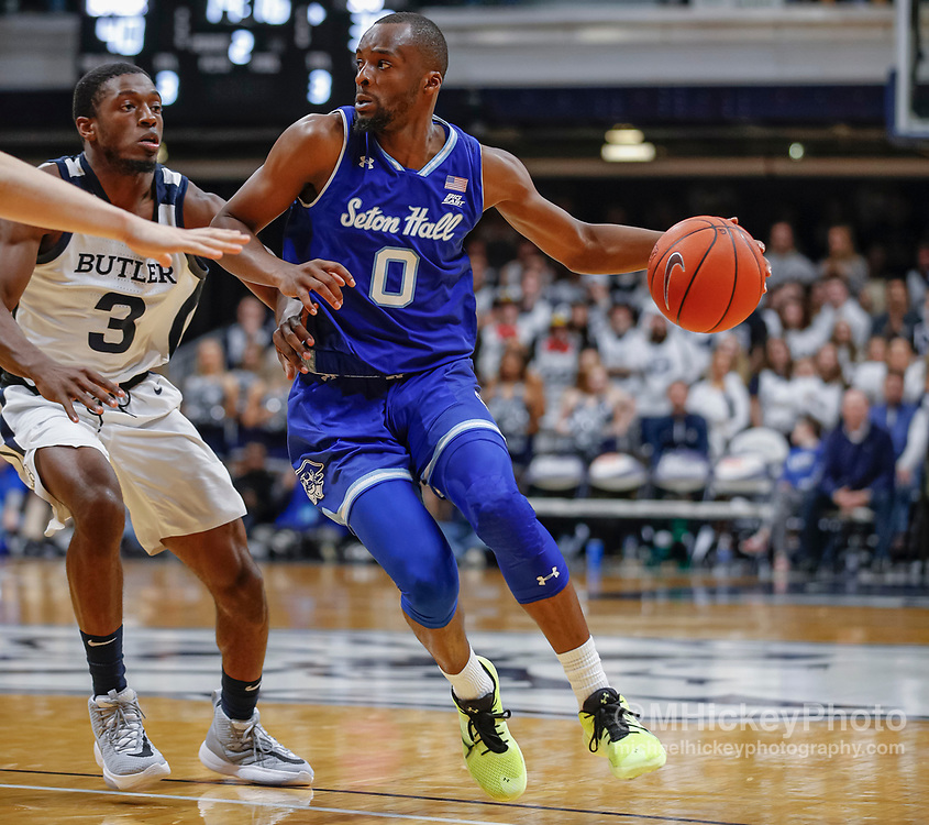 INDIANAPOLIS, IN - JANUARY 15: Quincy McKnight #0 of the Seton Hall Pirates dribbles the ball against Kamar Baldwin #3 of the Butler Bulldogs at Hinkle Fieldhouse on January 15, 2020 in Indianapolis, Indiana. (Photo by Michael Hickey/Getty Images) *** Local Caption *** Quincy McKnight; Kamar Baldwin