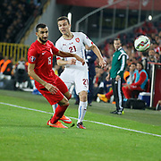 Turkey's Mehmet Topal (L) and Czech Republic's David Lafata (R) during their UEFA Euro 2016 qualification Group A soccer match Turkey betwen Czech Republic at Sukru Saracoglu stadium in Istanbul October 10, 2014. Photo by Aykut AKICI/TURKPIX