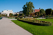 The Volksgarten (Peoples Garden) in September, with the Burgtheater building in the background, Innere Stadt district, Vienna, Austria