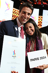 Handout photo - Co-President of Paris 2024 candidacy Tony Estanguet and Mayor of Paris Anne Hidalgo react after the victory during the Olympic and Paralympic Games 2024 host city election, Lima, Peru, September 13, 2017. Photo by Paris 2024/ABACAPRESS.COM
