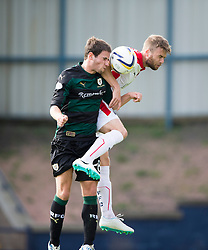 Raith Rovers Kevin Moon and Falkirk's Rory Loy.<br /> Raith Rovers 0 v 0 Falkirk, Scottish Championship game played 27/9/2014 at Raith Rovers Stark Park.