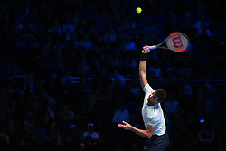 November 18, 2017 - London, England, United Kingdom - Bulgaria's Grigor Dimitrov serves to US player Jack Sock during their men's singles semi-final match on day seven of the ATP World Tour Finals tennis tournament at the O2 Arena in London on November 18, 2017. (Credit Image: © Alberto Pezzali/NurPhoto via ZUMA Press)