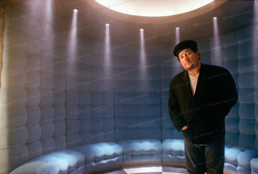 Parisian designer, Philippe Stake in the Blue Room of the Royalton Hotel in Manhattan, an Ian Schrager Hotel he designed.