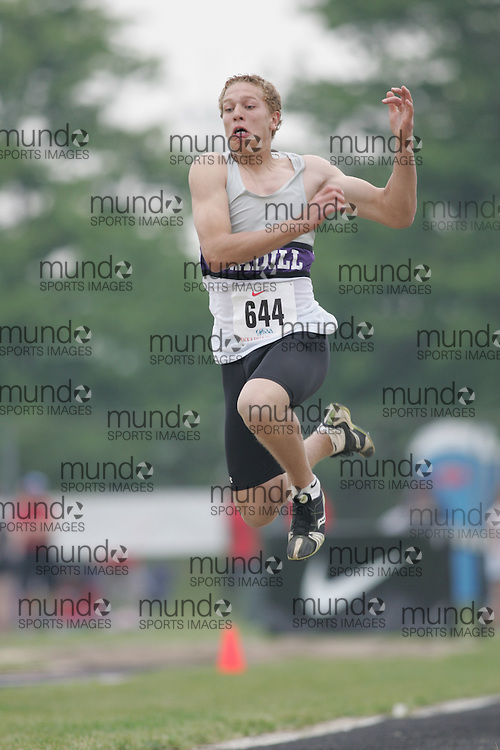 Hamilton, Ontario ---05/06/08--- Cole Pellett of F. E. Madill in Wingham competes in the junior boys long jump at the 2008 OFSAA Track and Field meet in Hamilton, Ontario..Sean Burges