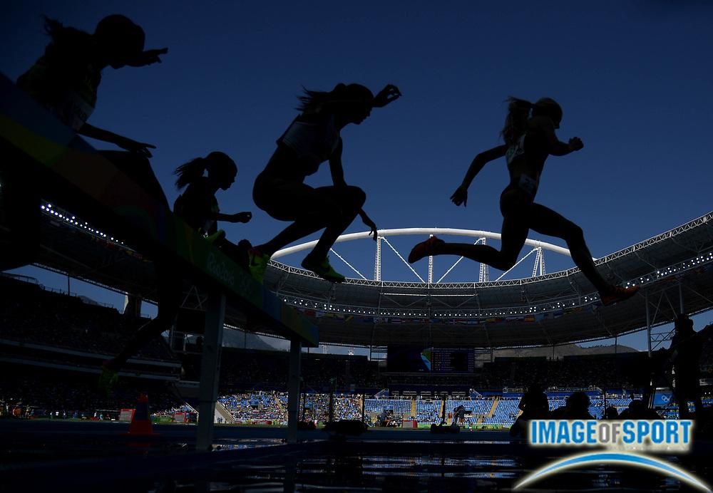 Aug 13, 2016; Rio de Janeiro, Brazil; Women's 3000m steeplechase  event at Estadio Olimpico Joao Havelange during the Rio 2016 Summer Olympic Games.
