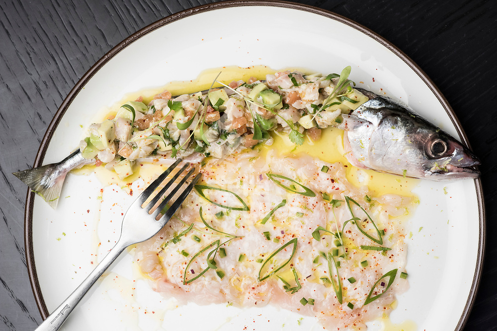 Catch of the day - red mullet at Hovarda restaurant, St James', London. <br /> Picture by Daniel Hambury/Stella Pictures Ltd 07813022858<br /> 27/11/2017