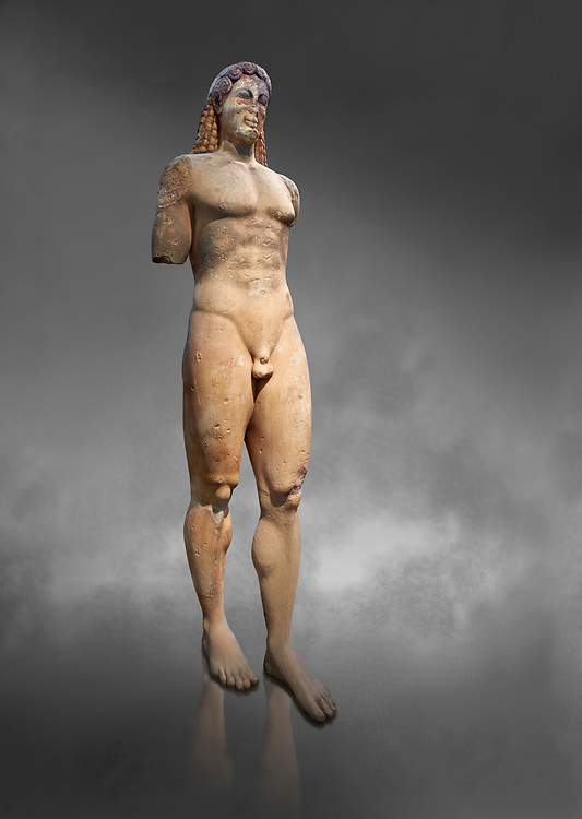 Marble Anxcient Greek Archaic meble statue of a kouros, circa 530 BC, found in Kea,  Athens National Archaeological Museum. Cat no 3886. Against grey.<br /> <br /> The statue is a lively sculpture with good plasticity in the rendering of the torso. Made by a Kea sculptor. .<br /> <br /> If you prefer to buy from our ALAMY STOCK LIBRARY page at https://www.alamy.com/portfolio/paul-williams-funkystock/greco-roman-sculptures.html . Type -    Athens    - into LOWER SEARCH WITHIN GALLERY box - Refine search by adding a subject, place, background colour, etc.<br /> <br /> Visit our ROMAN WORLD PHOTO COLLECTIONS for more photos to download or buy as wall art prints https://funkystock.photoshelter.com/gallery-collection/The-Romans-Art-Artefacts-Antiquities-Historic-Sites-Pictures-Images/C0000r2uLJJo9_s0