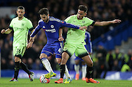 David Faupala of Manchester City (r) tackles Cesc Fabregas of Chelsea. The Emirates FA Cup, 5th round match, Chelsea v Manchester city at Stamford Bridge in London on Sunday 21st Feb 2016.<br /> pic by John Patrick Fletcher, Andrew Orchard sports photography.