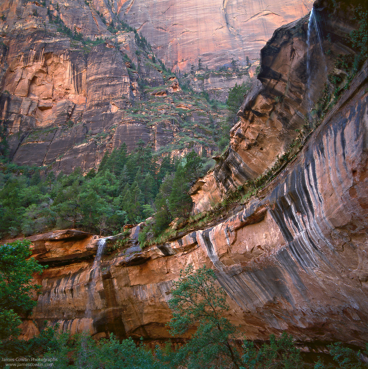 Waterfalls at Lower Emerald Pool in Heaps Canyon, Zion National Park, Utah