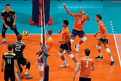 21-09-2019 NED: EC Volleyball 2019 Netherlands - Germany, Apeldoorn<br /> 1/8 final EC Volleyball / Nimir Abdelaziz #14 of Netherlands, ne8/, Thijs Ter Horst #4 of Netherlands