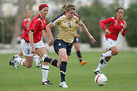 20080310: ALVOR, PORTUGAL – USA vs Norway during XV Algarve Women 's Football Cup. In picture: O'Reilly (USA). PHOTO: CITYFILES
