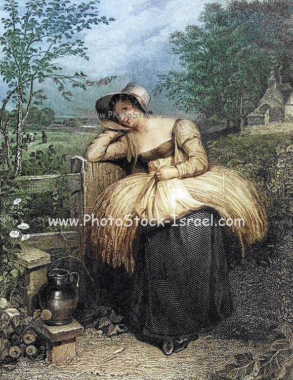 Machine colorised Country Girl illustrating the story ' On Love ' from The Keepsake of 1829. The Keepsake was an English literary annual which ran from 1828 to 1857, published each Christmas from 1827 to 1856, for perusal during the year of the title. Like other literary annuals, The Keepsake was an anthology of short fiction, poetry, essays, and engraved illustrations. It was a gift book designed to appeal to young women, and was distinctive for its binding of scarlet dress silk and the quality of its illustrations. Although the literature in The Keepsake and other annuals is often regarded as second-rate, many of the contributors to The Keepsake are canonical authors of the Romantic period.