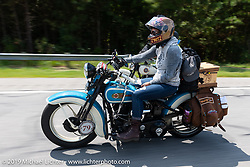 Jody Perewitz riding her 1936 Harley-Davidson VLH in the Cross Country Chase motorcycle endurance run from Sault Sainte Marie, MI to Key West, FL. (for vintage bikes from 1930-1948). Stage-6 from Chattanooga, TN to Macon, GA USA covered 258 miles. Wednesday, September 11, 2019. Photography ©2019 Michael Lichter.