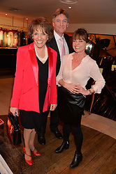 ESTHER RANTZEN, MICHAEL BOWEN and JANET ELLIS at the Costa Book Awards 2013 held at Quaglino's, 16 Bury Street, London on 28th January 2014.