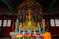 Buddha statue, Yuantong Temple, the largest Buddhist temple in Kunming, Yunnan Province, China. It was first built in the late 8th and early 9th century, the time of the Nanzhao Kingdom in the Tang dynasty.