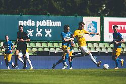 Amadej Brecl of NK Celje vs Mustafa Nukić of NK Bravo during football match between NK Bravo and NK Celje in 32nd Round of Prva liga Telekom Slovenije 2020/21, on May 4, 2021 in Sports park Domzale, Slovenia. Photo By Grega Valancic / Sportida