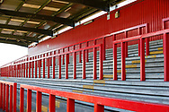 Ground shot of the empty stands during the EFL Sky Bet League 2 match between Stevenage and Bradford City at the Lamex Stadium, Stevenage, England on 5 April 2021.