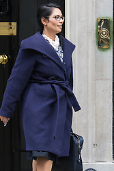 Downing Street, London, January 26th 2016. Employment Minister Priti Patel leaves 10 Downing Street following the weekly Cabinet meeting. ///FOR LICENCING CONTACT: paul@pauldaveycreative.co.uk TEL:+44 (0) 7966 016 296 or +44 (0) 20 8969 6875. ©2015 Paul R Davey. All rights reserved.