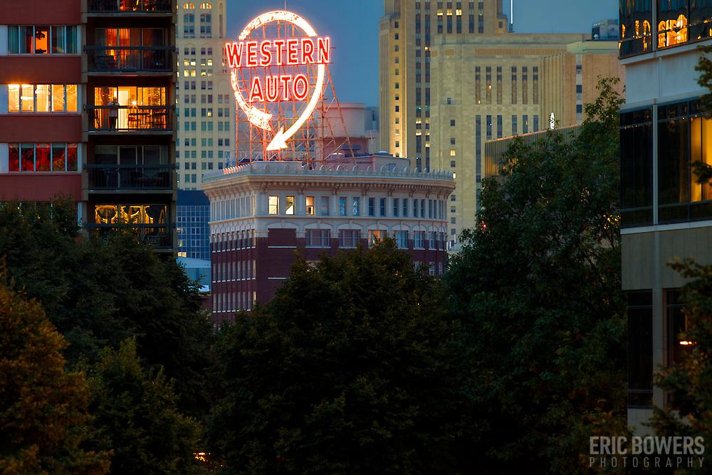 Western Auto Lofts building and sign, downtown Kansas City, Missouri.