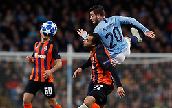 Manchester City's Bernardo Silva (right) in action during the UEFA Champions League match at the Etihad Stadium, Manchester.