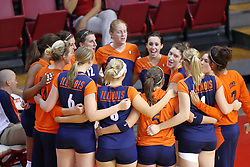 16 SEP 2008: The Illini get in a group hug/huddle during a match at Redbird Arena on the campus of Illinois State University in Normal Illinois.  The Illinois State Redbirds went toe to toe with the University of Illinois Illini but in the end were outpaced by the 23rd ranked Division 1 Illini team 3 sets to 1.
