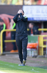 Dundee United's manager Jackie McNamara.<br /> Half time : Dundee United 1 v 0 Inverness Caledonian Thistle, SPFL Ladbrokes Premiership game played 19/9/2015 at Tannadice.