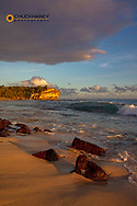 Shipwreck Beach at sunset in Poipu in Kauai, Hawaii, USA