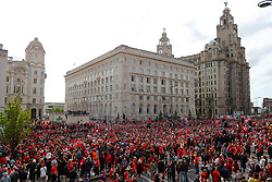 Crowds of Liverpool fans outside the Liver Building during the Champions League Winners Parade in Liverpool.