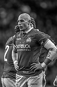 Twickenham, United Kingdom, Saturday, 9th March 2019,  RFU, Rugby, Stadium, Italian, Captain and No. 8, Sergio PARISSA, attacking the high ball  during, the Guinness Six Nations match, England vs Italy, © Peter Spurrier