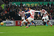 Bojan Krkic of Stoke City scores his teams 1st goal from the penalty spot. Premier league match, Stoke City v Leicester City at the Bet365 Stadium in Stoke on Trent, Staffs on Saturday 17th December 2016.<br /> pic by Chris Stading, Andrew Orchard sports photography.
