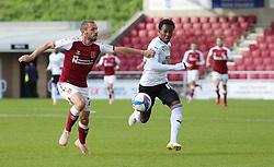 Siriki Dembele of Peterborough United takes on Michael Harriman of Northampton Town - Mandatory by-line: Joe Dent/JMP - 10/10/2020 - FOOTBALL - PTS Academy Stadium - Northampton, England - Northampton Town v Peterborough United - Sky Bet League One