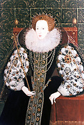 Elizabeth I (1533-1603) Queen of England and Ireland from 1558, last Tudor monarch. Seated on throne holding sceptre