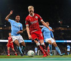 Raheem Sterling of Manchester City and Hordur Magnusson of Bristol City - Mandatory by-line: Matt McNulty/JMP - 09/01/2018 - FOOTBALL - Etihad Stadium - Manchester, England - Manchester City v Bristol City - Carabao Cup Semi-Final First Leg