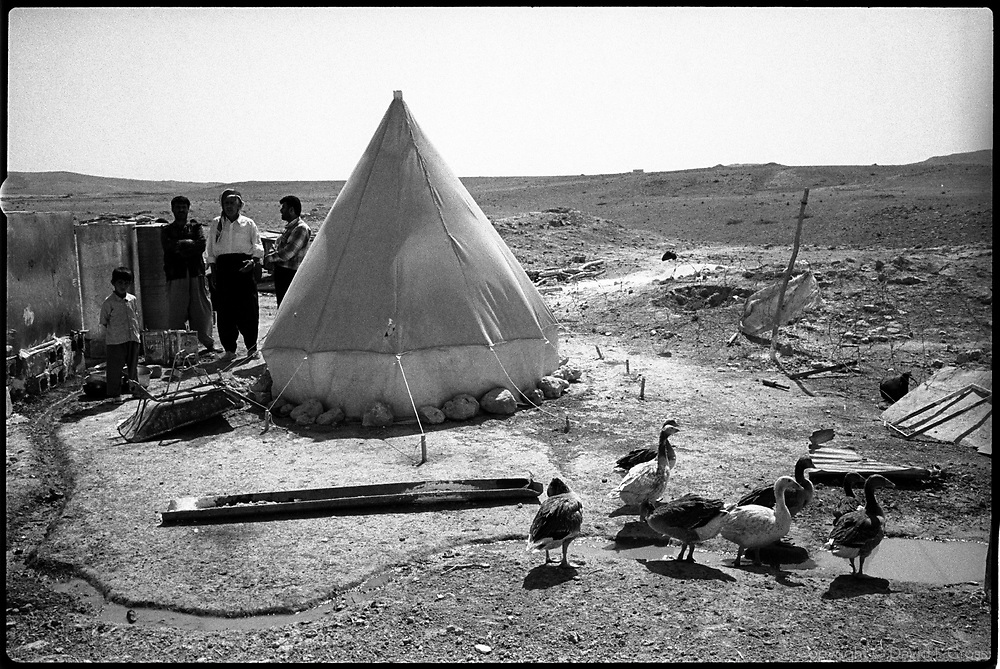 Returned villagers of Kandaryarimja, a tiny village outside Erbil, Iraq, stand behind their geese. A small number have recently returned, to rebuild the village after its destruction under Saddam Hussein's regime. There is no water (the pump is missing), and nothing but worn rubble remains of the old houses.