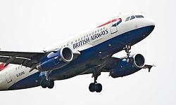 A British Airways plane on approach to Edinburgh airport..©Pic : Michael Schofield.
