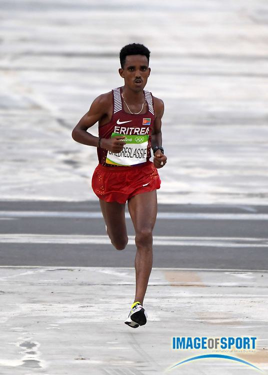 Aug 21, 2016; Rio de Janeiro, Brazil; Ghirmay Ghebreslassie (ERI) places fourth in 2:11:04 in the marathon during the Rio 2016 Summer Olympic Games at Sambodromo.