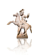 Roman marble sculpture of a warrior on horseback, a 2nd century AD copy from an original 2nd century BC Hellanistic Greek original, inv 6405 Farnese Collection, Naples  Museum of Archaeology, Italy ..<br /> <br /> If you prefer to buy from our ALAMY STOCK LIBRARY page at https://www.alamy.com/portfolio/paul-williams-funkystock/greco-roman-sculptures.html . Type -    Naples    - into LOWER SEARCH WITHIN GALLERY box - Refine search by adding a subject, place, background colour, museum etc.<br /> <br /> Visit our ROMAN WORLD PHOTO COLLECTIONS for more photos to download or buy as wall art prints https://funkystock.photoshelter.com/gallery-collection/The-Romans-Art-Artefacts-Antiquities-Historic-Sites-Pictures-Images/C0000r2uLJJo9_s0