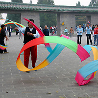 Asia, China, Beijing. Traditional Chinese Ribbon Dancers at the Temple of Heaven Park in Beijing.