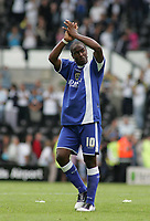 Photo: Paul Thomas.<br /> Derby County v Cardiff City. Coca Cola Championship.<br /> 20/08/2005.<br /> <br /> Cardiff goal scorer Cameron Jerome thanks the crowd.