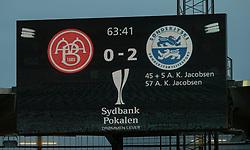 Måltavlen under finalen i Sydbank Pokalen mellem AaB og SønderjyskE den 1. juli 2020 i Blue Water Arena, Esbjerg (Foto Claus Birch).