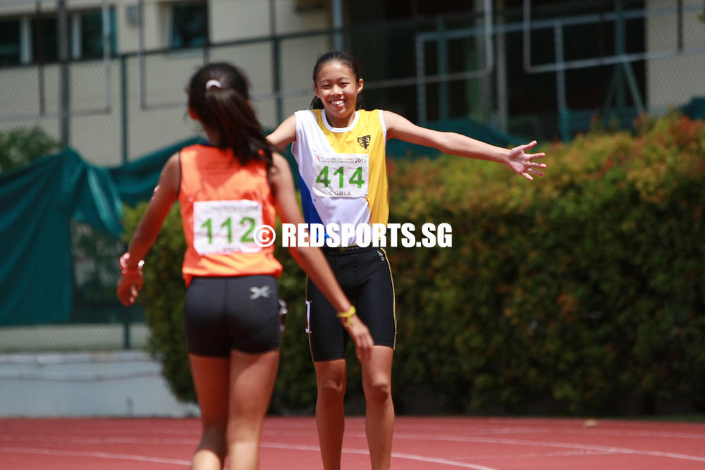 Bishan Stadium, Tuesday, April 19, 2016 — Elizabeth-Ann Tan of Nanyang Girls' High School (NYGH) emerged as the champion in the C Division Girls' 80 metres hurdles at the 57th National Schools Track and Field Championships, setting a blistering new championship record of 12.07 seconds.