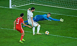 CARDIFF, WALES - Friday, September 6, 2019: Wales' goalkeeper Wayne Hennessey is beaten as Azerbaijan's Mahir Emreli scores a goal during the UEFA Euro 2020 Qualifying Group E match between Wales and Azerbaijan at the Cardiff City Stadium. (Pic by Paul Greenwood/Propaganda)