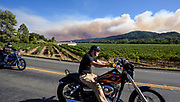 Harley Davidson riders cruise through Dry Creek Valley in the Sonoma Wine Country while smoke from the Skaggs Fire rages in the background. The fire started after a lightning storm pummeled Northern California starting hundreds of wildfires across the region.
