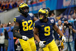 Michigan Wolverines wide receiver Donovan Peoples-Jones #9 celebrates a touchdown during the Chick-fil-A Peach Bowl, Saturday, December 29, 2018, in Atlanta. ( Paul Abell via Abell Images for Chick-fil-A Peach Bowl)